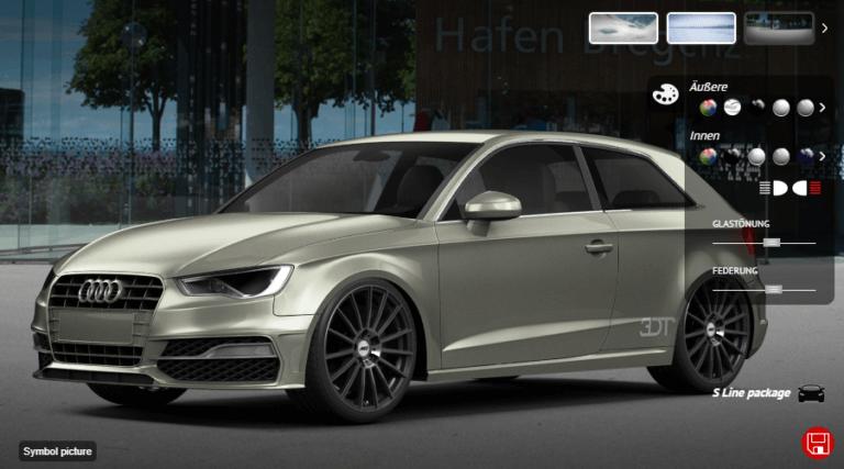 Ein grauer animierter Audi mit ALCAR Felgen auf einer Straße. Im Hintergrund befinden sich Bäume